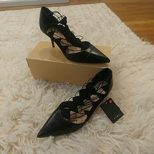 New Zara Black Witchy Goth Kitten Heel Shoes